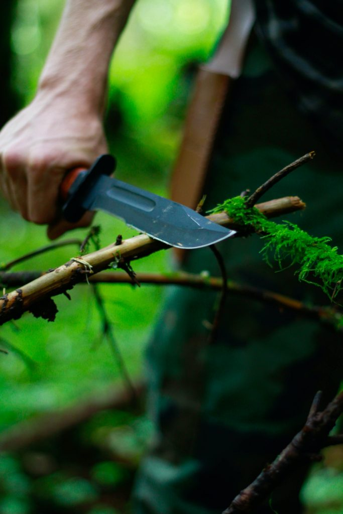 Machete cutting a tree branch